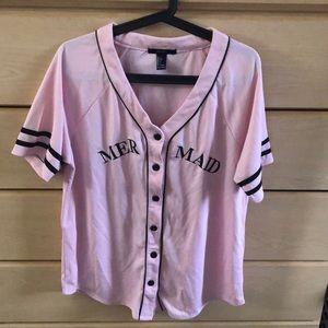 Pink mermaid baseball jersey